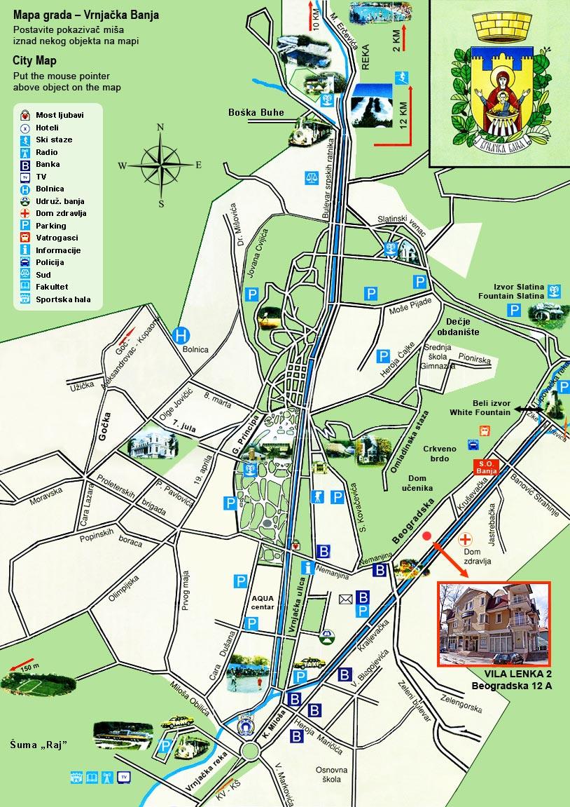 mapa vrnjacke banje